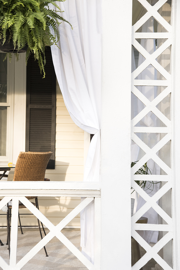 Front Porch with White Drapery
