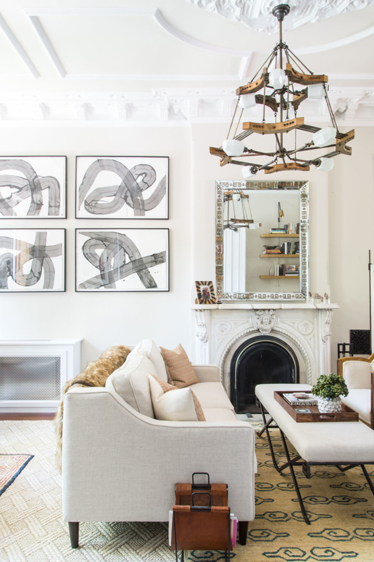 Home tour a brooklyn brownstone room for tuesday for Brownstone living room decorating ideas