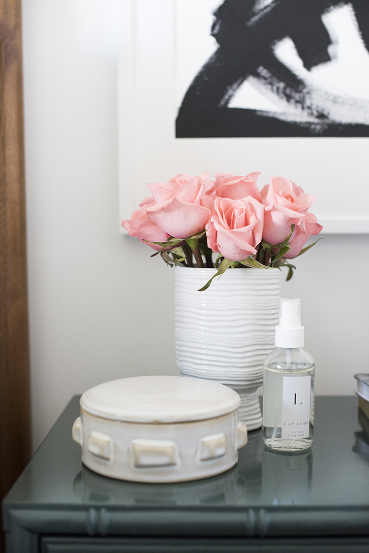 Pink Roses on Bamboo Nightstand