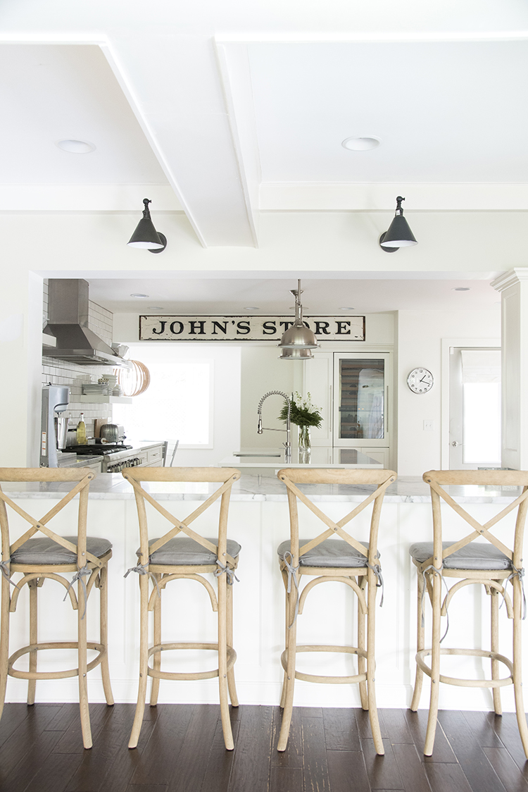 Barstools in a Bright White Kitchen
