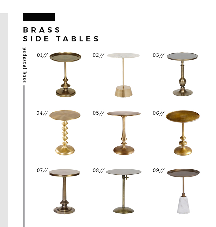 brass side tables pedestal base table uk small unfinished wood