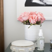 Pink-Roses-on-Bamboo-Nightstand