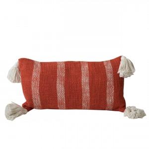 burnt orange striped pillow