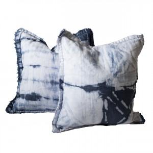indigo shibori throw pillows
