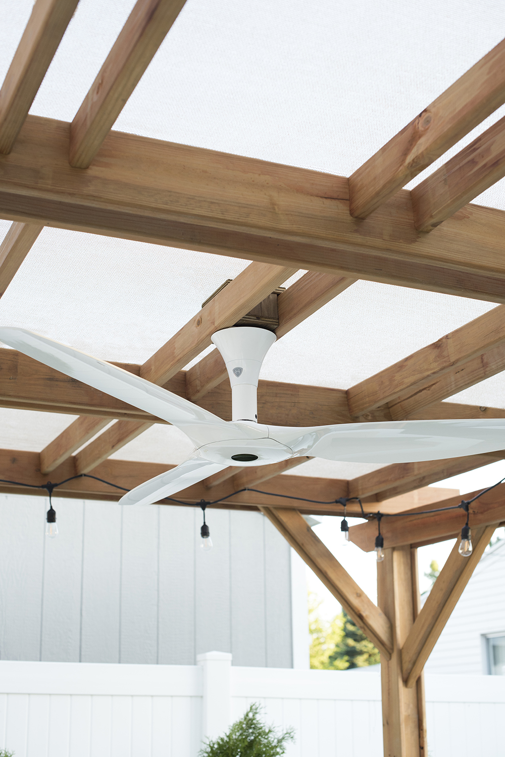 Fan and Shade Under Pergola