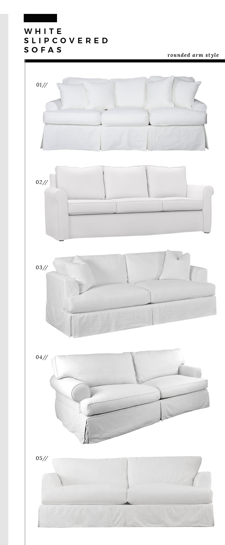 Rounded Arm Slipcover Sofas