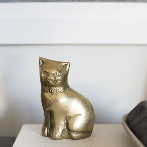Brass Cat Shelf Object