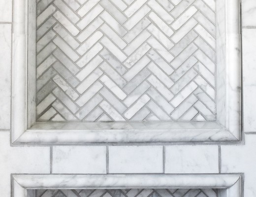 Custom Herringbone Shower Niche