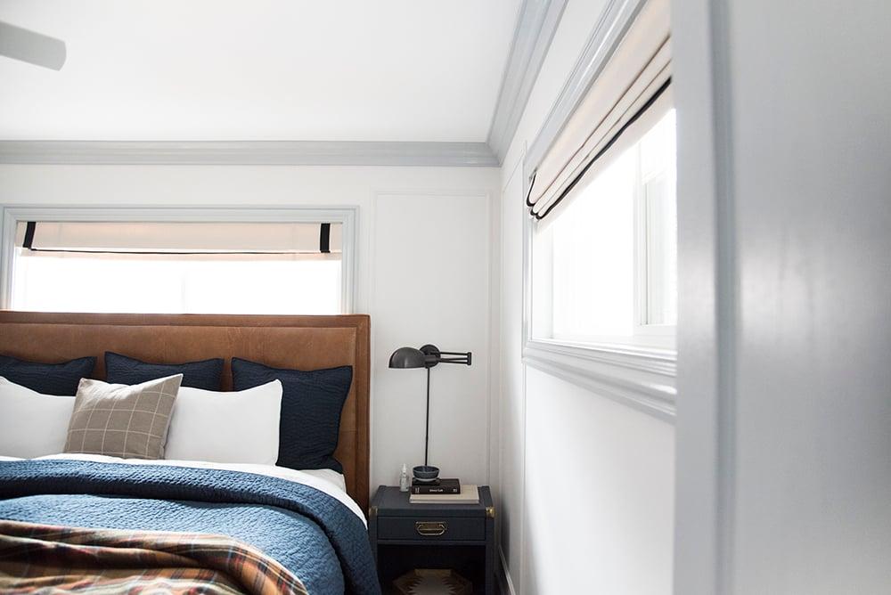 Navy, Cognac, and Neutral Bedroom