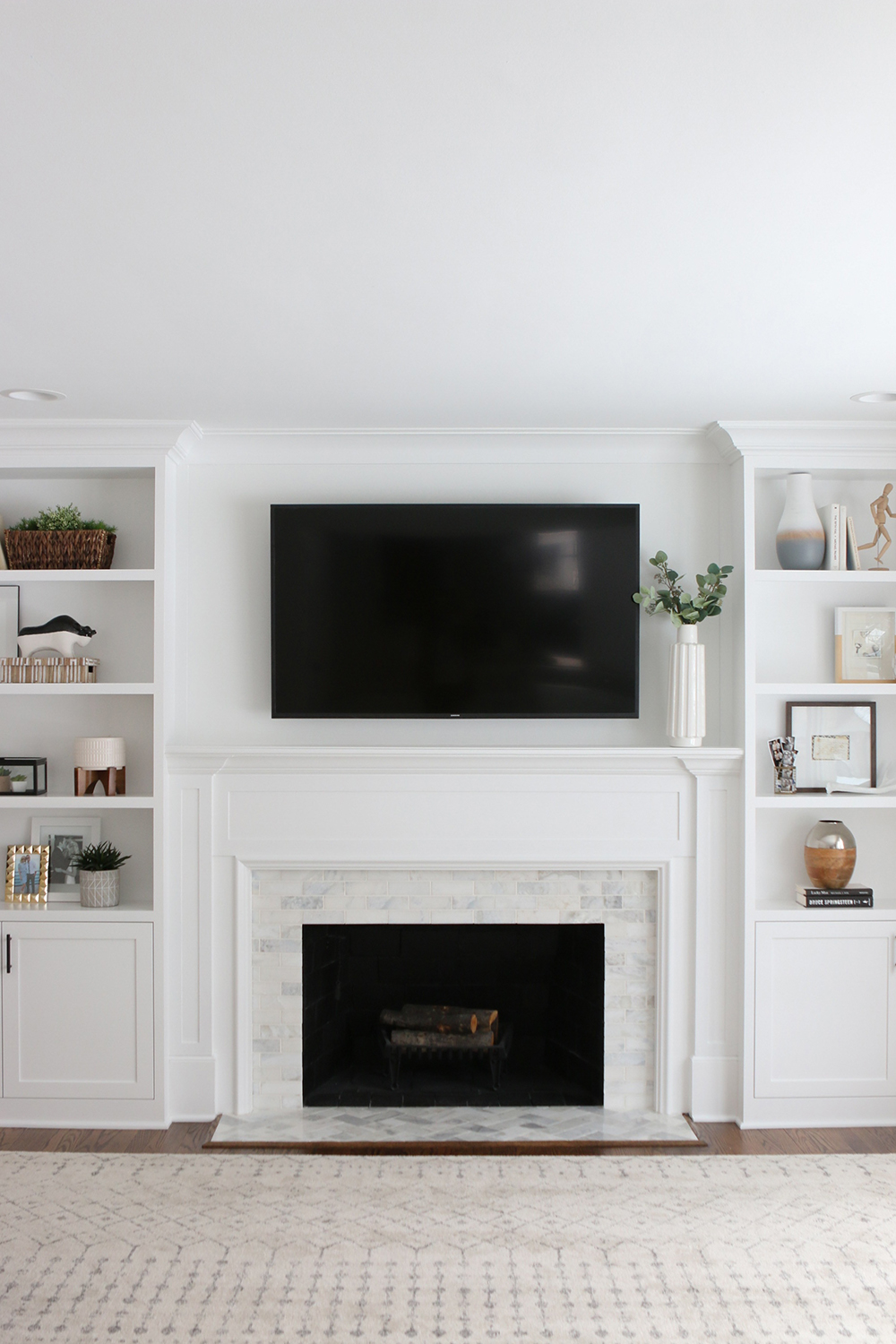 Home tour the diy playbook room for tuesday - Black and white fireplace ...