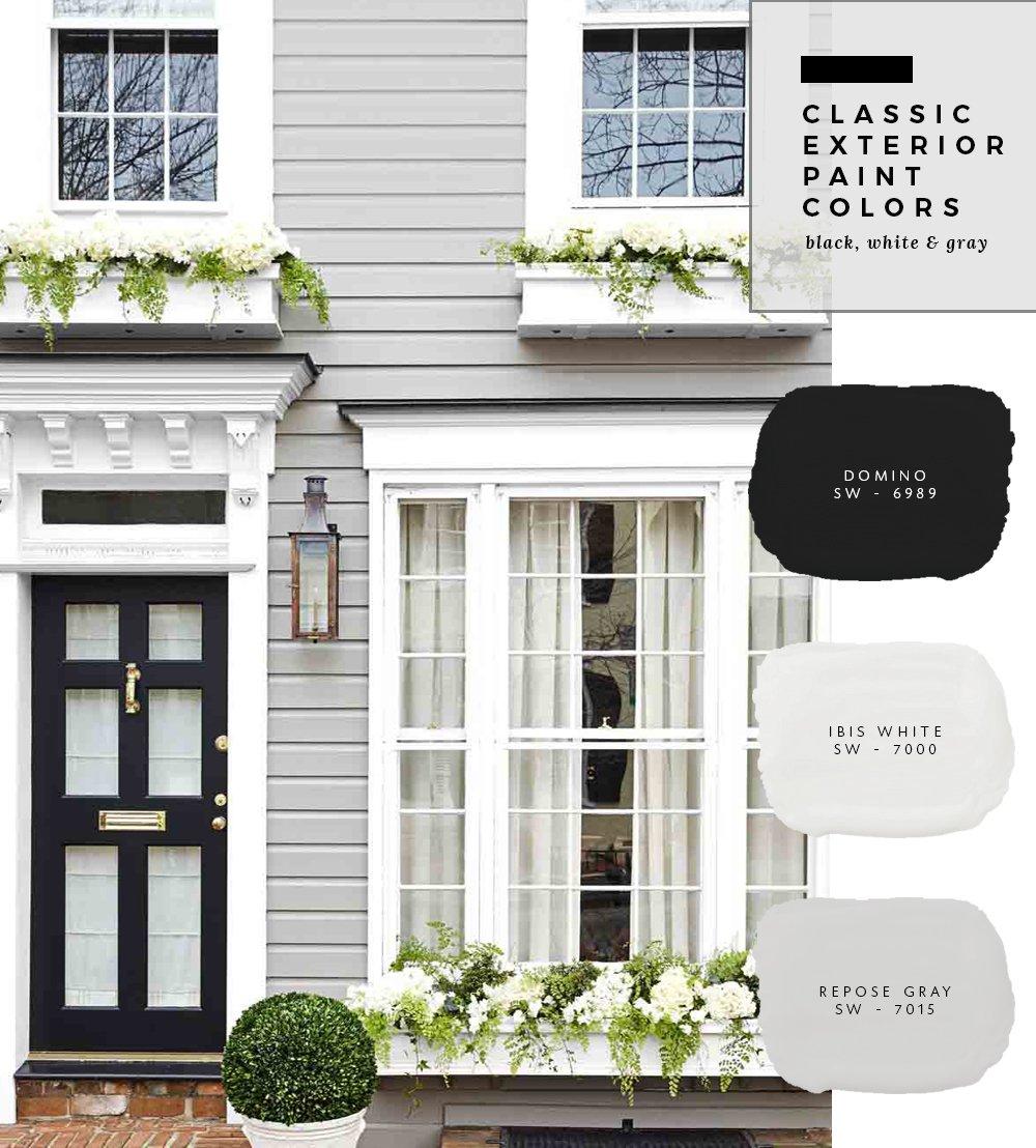 Classic Exterior Paint Colors - Black, White & Gray - Room ...
