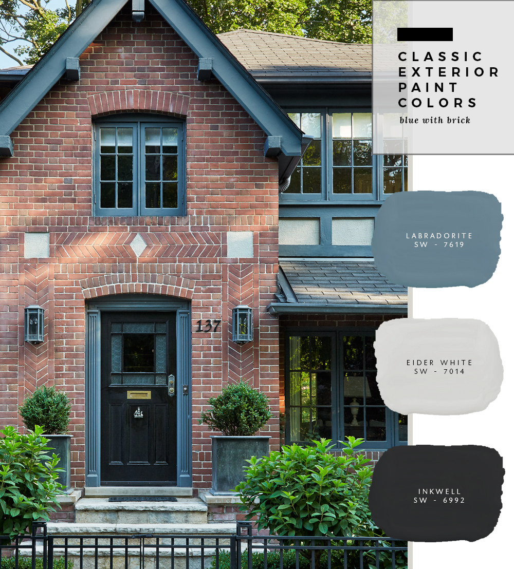 Classic Exterior Paint Colors - Blue with Brick - Room For ...