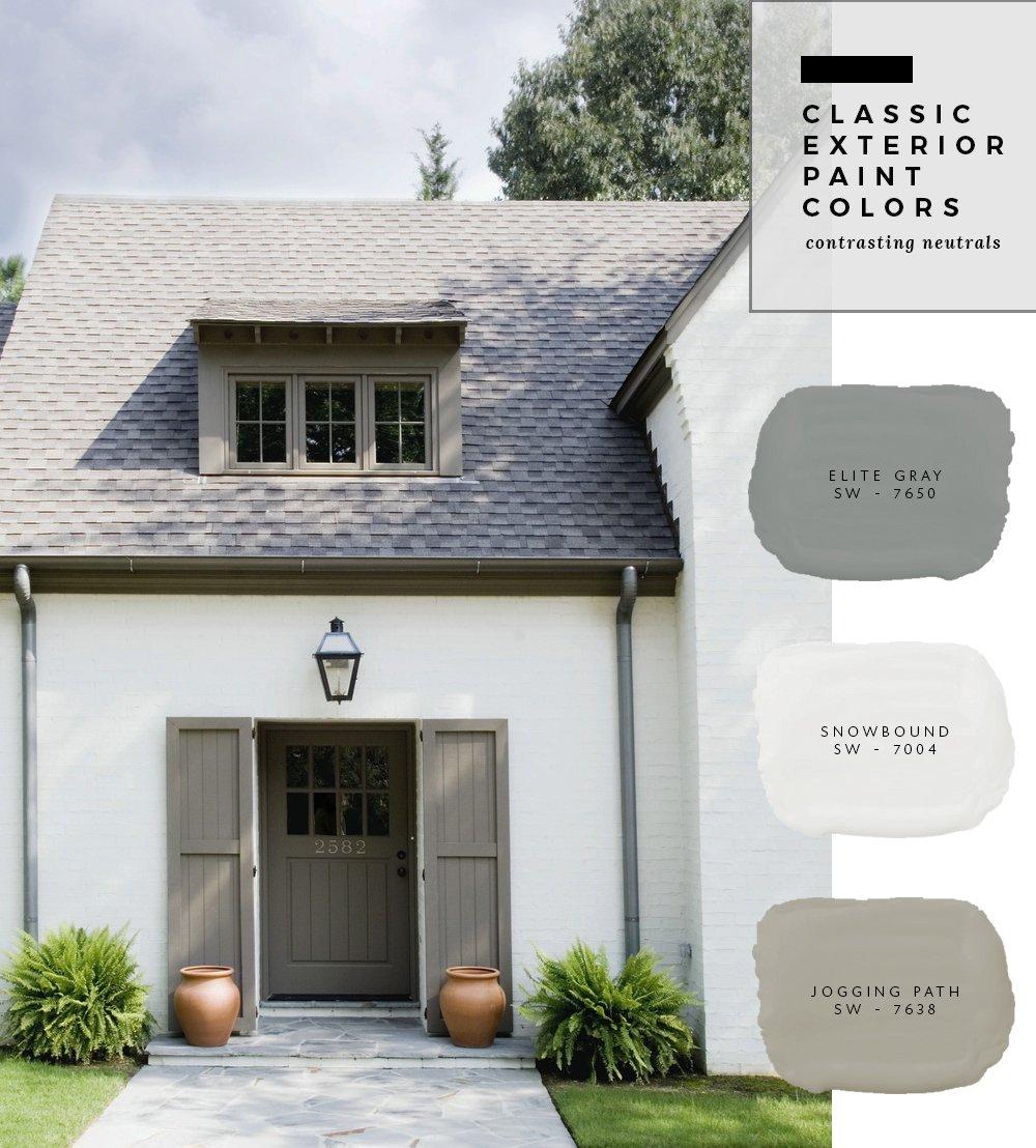 Classic exterior paint colors contrasting neutrals - Best color to paint exterior house for sale ...