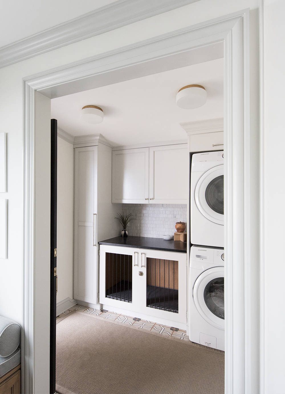 Laundry Room With Built In Dog Kennel