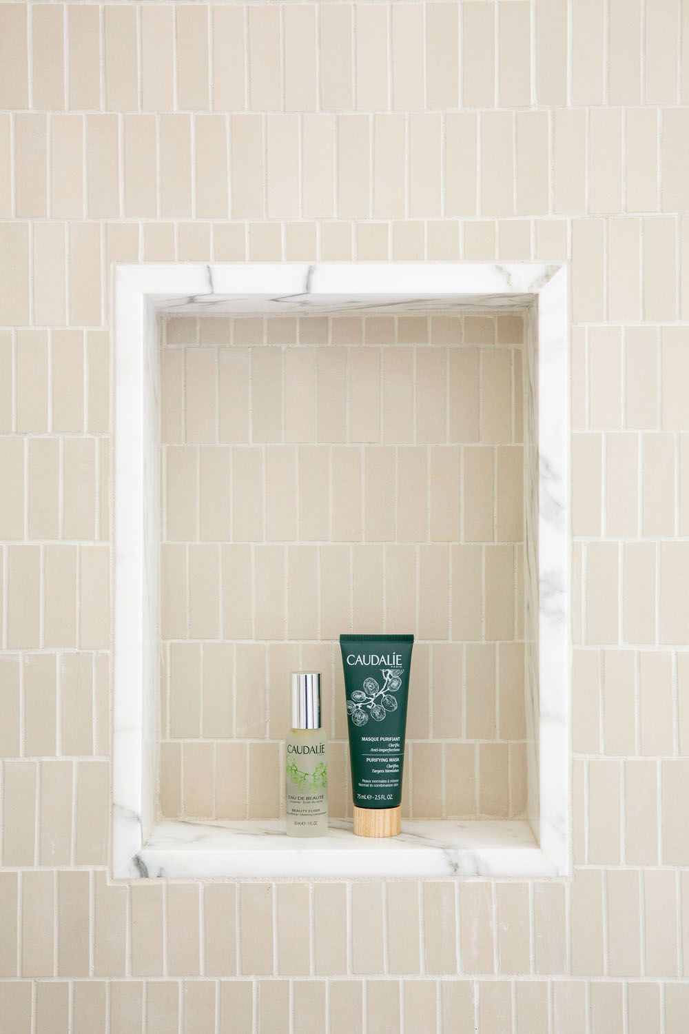 Shower Niche With Subway Tile Room