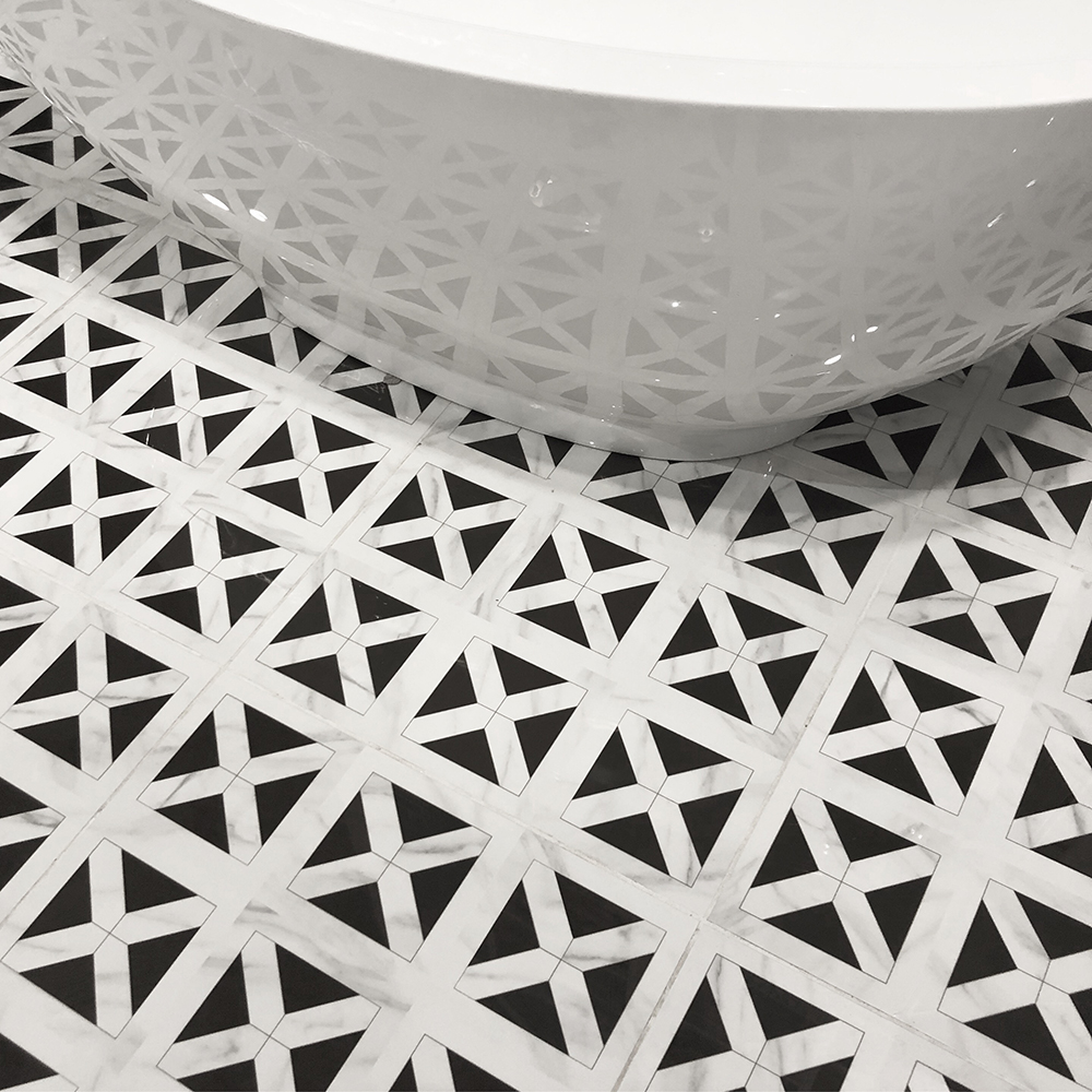 Geometric Patterned Black And White Floor Tile